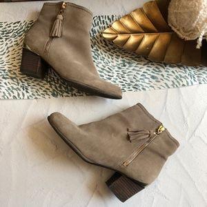 Isaac Mizrahi New York Tan Suede Ankle Booties 6.5